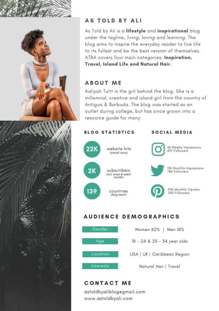 As Told by Ali Media Kit with information on blog statistics and audience